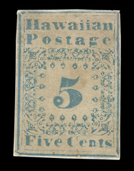 Hawaii: 1851-52 5 cents blue, type 2, unused.